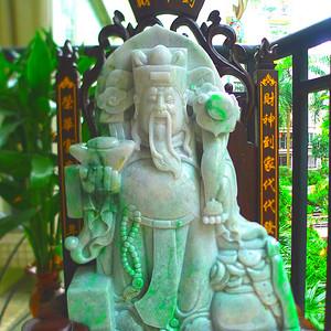 天然A货翡翠老坑水润带绿,招财进宝,财神摆件.
