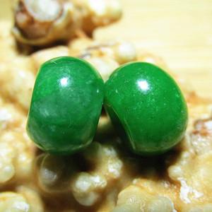 民国时期 天然 满辣绿 翡翠 算盘珠 颗颗种色一等 难得成对