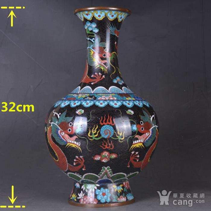 晚清 掐丝珐琅双龙戏珠 赏瓶图2