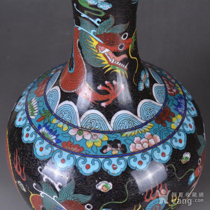 晚清 掐丝珐琅双龙戏珠 赏瓶图7