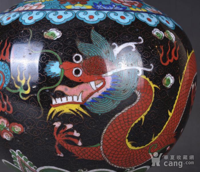 晚清 掐丝珐琅双龙戏珠 赏瓶图9