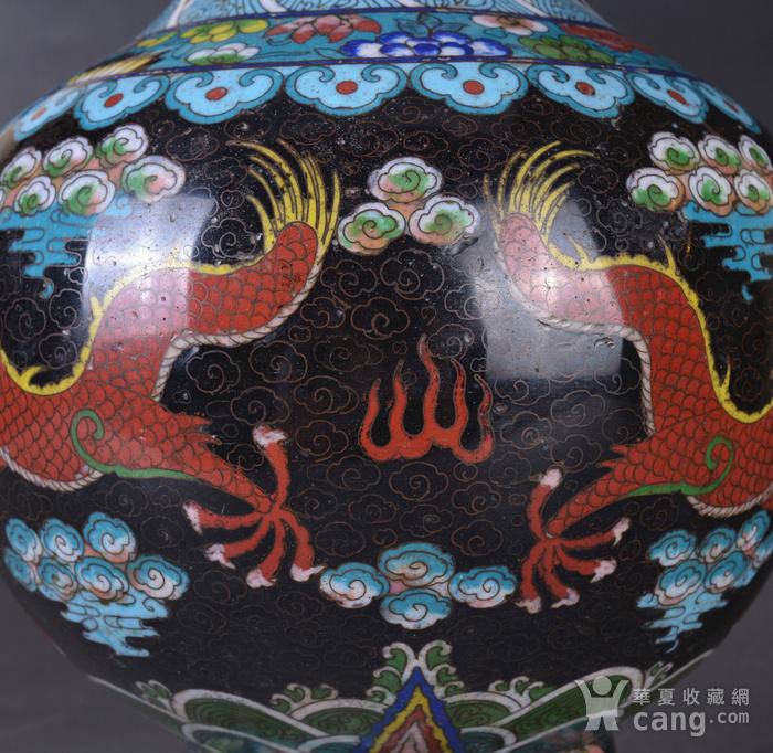 晚清 掐丝珐琅双龙戏珠 赏瓶图10
