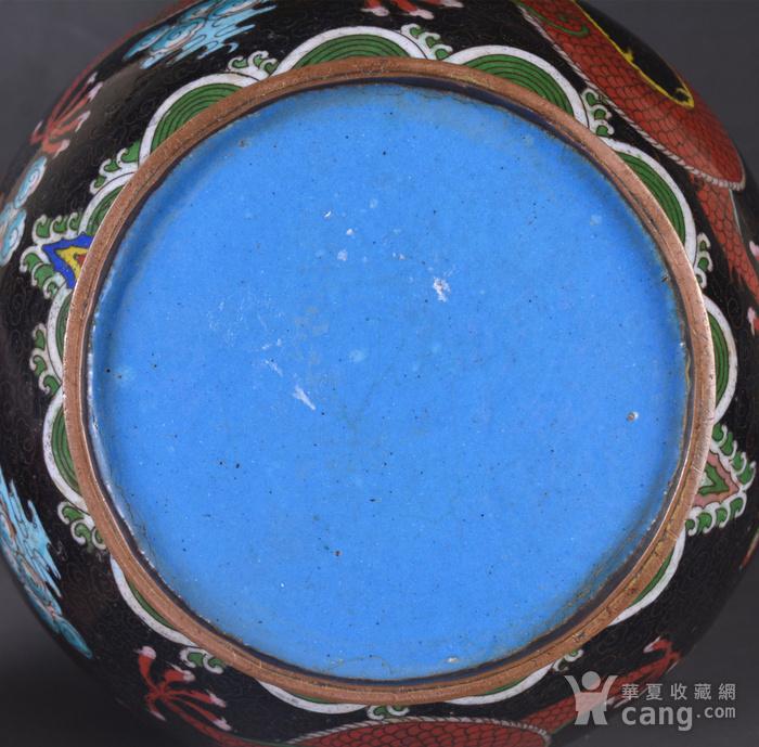 晚清 掐丝珐琅双龙戏珠 赏瓶图12