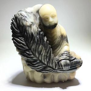 回流 清代 寿山石 珍贵世元洞石 芭蕉罗汉摆件 手工雕刻