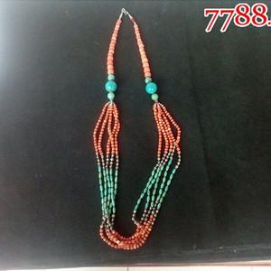 清光绪红珊瑚镶珍珠佩绿松石项链一件