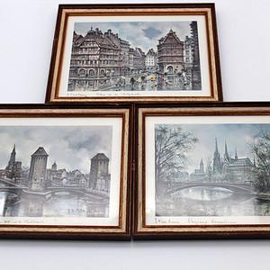 132法国斯特拉斯堡市景复刻油画 三幅
