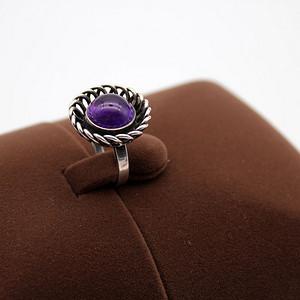 120银镶天然紫水晶戒指