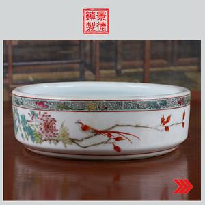 景德镇文革老厂货瓷器 手绘花鸟景图水洗