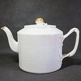 清代隆福寿长青白釉大茶壶乾