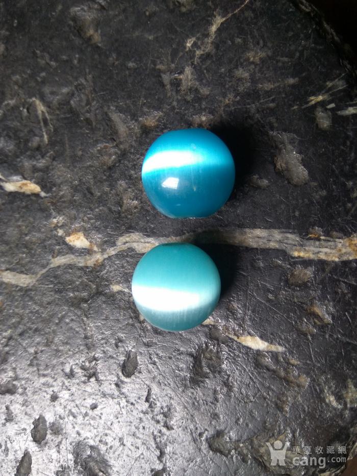 清代 海兰猫眼石对珠 孔对开图7