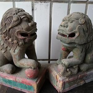 清代香樟木对狮