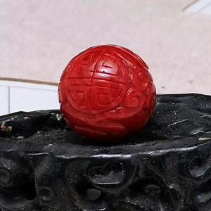 精品 20mm阿卡珊瑚雕刻龙珠 B