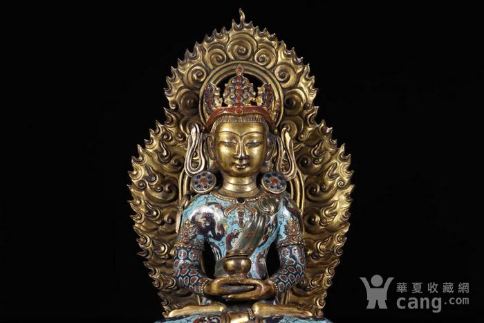 舊藏掐絲琺瑯長壽佛坐像圖2