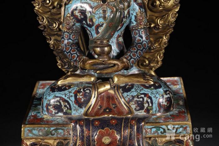 舊藏掐絲琺瑯長壽佛坐像圖4