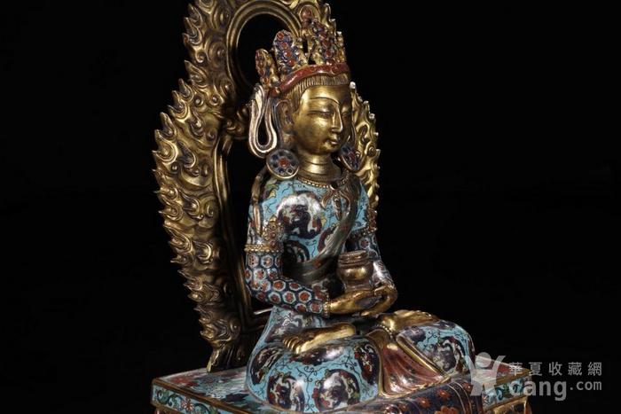 舊藏掐絲琺瑯長壽佛坐像圖6