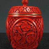 民国剔铜 胎剔红漆器茶叶盖罐