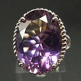 美国回流 925银天然紫色水晶戒指