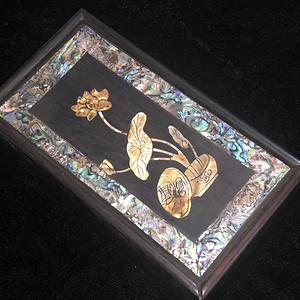 回流 晚清 紫檀 和和美美 镶嵌螺钿 首饰盒 手工镶嵌