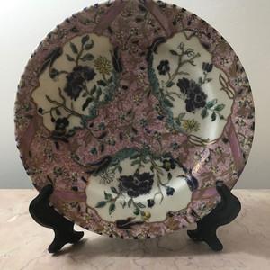 9053 欧洲回流 粉彩花卉圆盘