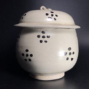 精品 元明磁州窑白釉黑花盖罐一只