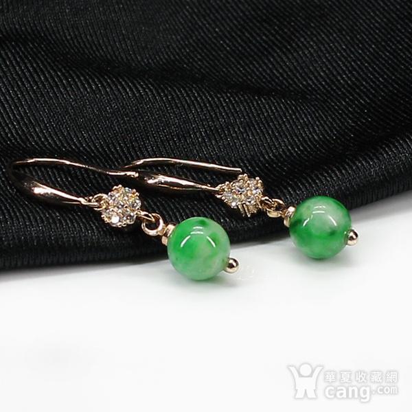 翠绿翡翠圆珠耳饰 银镶嵌7599图2