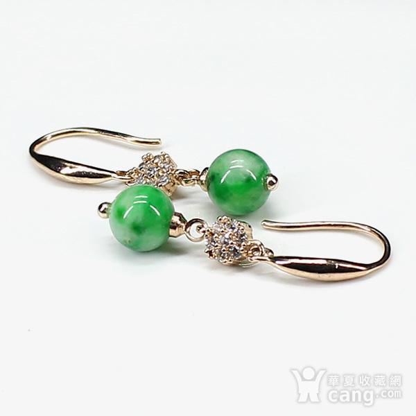翠绿翡翠圆珠耳饰 银镶嵌7599图4