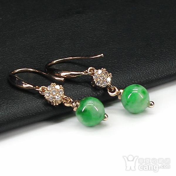 翠绿翡翠圆珠耳饰 银镶嵌7599图5