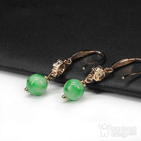 翠绿翡翠圆珠耳饰 银镶嵌7599图6