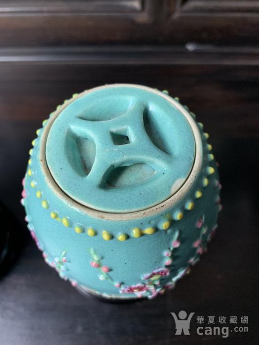 晚清:松石绿釉雕梅花纹鼓钉罐 对 图5