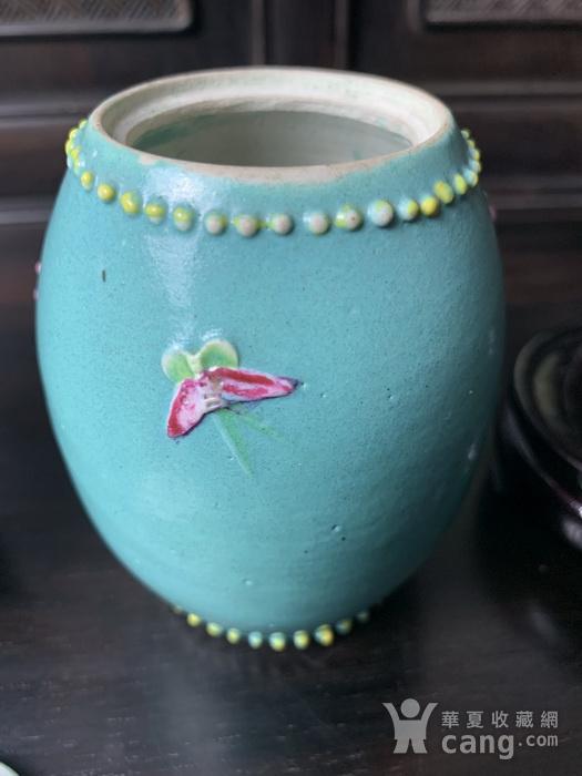 晚清:松石绿釉雕梅花纹鼓钉罐 对 图8