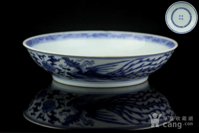 10清早期青花凤牡丹纹盘