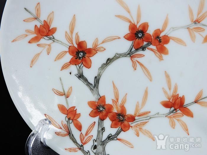 清代矾红墨彩过墙梅花蝠纹绘画盘图2