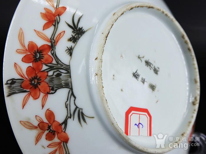 清代矾红墨彩过墙梅花蝠纹绘画盘图5
