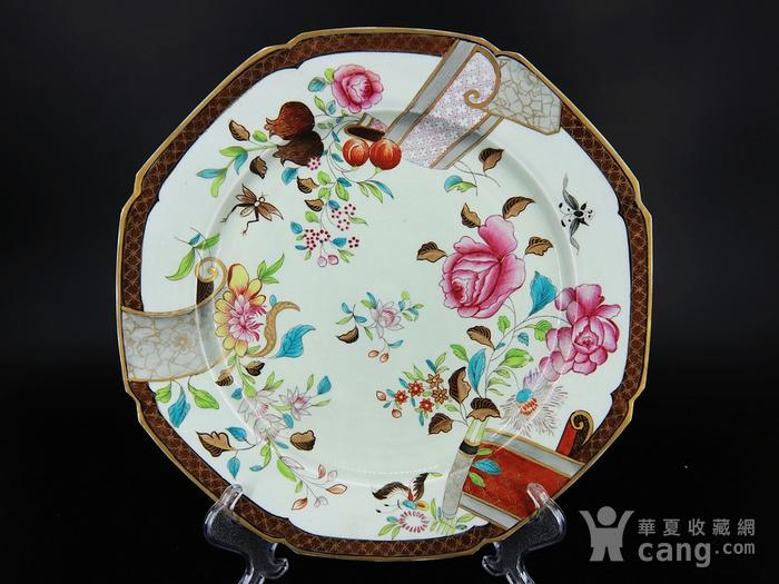 乾隆粉彩花卉绘画八角盘图1