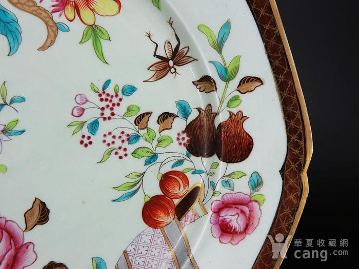 乾隆粉彩花卉绘画八角盘图3