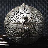 收藏佳品唐銀質熏香球 平衡原理 手工精制打造 紋飾精美