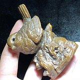 回流 民國 黃楊木 小麻雀 擺件 寫實雕刻 工藝十分精美