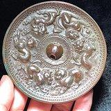 漢代 銅制 六獅紋銅鏡 手工鏨刻 工藝極其精美 包漿