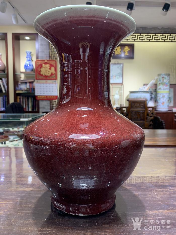 晚清红釉盘口瓶
