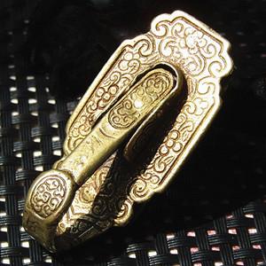 清 老銅打造滿族 帶刀鉤 手工嶄刻 包漿厚重