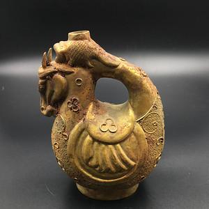 銅態馬頭酒壺