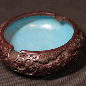 標本價   民國銅胎雕漆灰缸