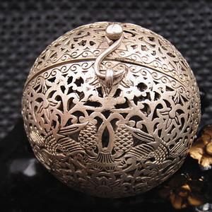回流 唐代銀質鏤空熏香球 紋飾精美 品相完美