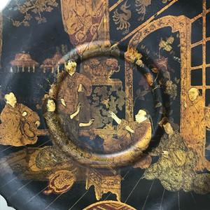 9006 欧洲回流 十九世纪描金人物漆盘