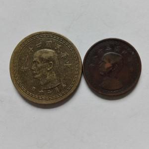 民国台湾壹角 五角铜币2枚