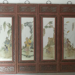 王琦粉采瓷板四条屏
