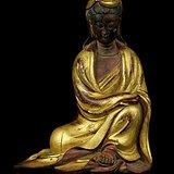 39清中期黃楊木漆金觀音座像