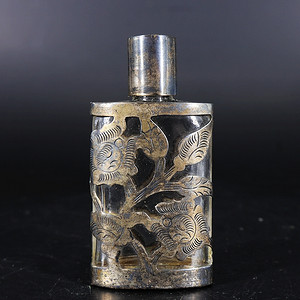 清代银雕花包琉璃香水瓶